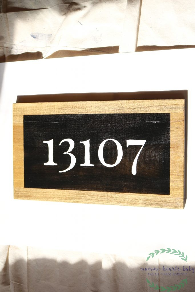 Completed farmhouse address sign