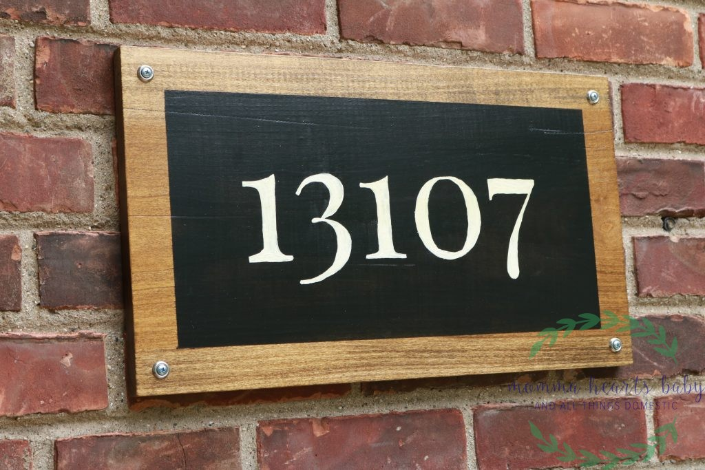 Completed and mounted farmhouse address sign