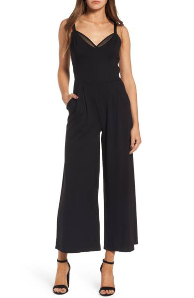ballet crop wide leg ponte jumpsuit