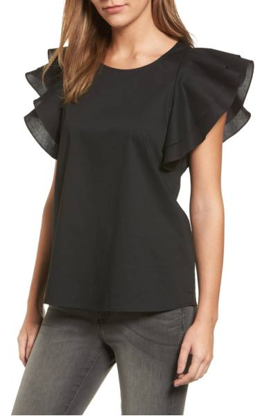double ruffle sleeve blouse - Pleione