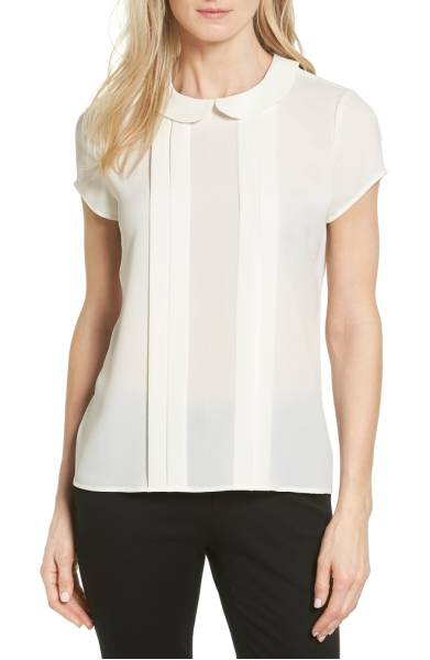 pleat peter pan blouse